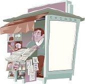 Vector Illustratio of an Newspaper and Magazine Kiosk Seller