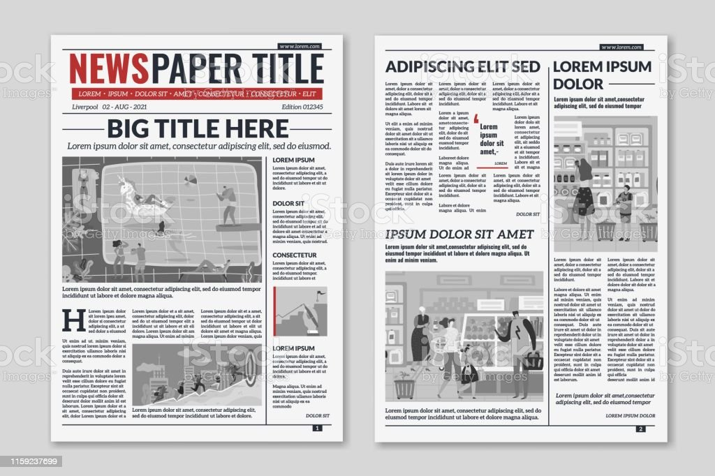 Newspaper layout. News column articles newsprint magazine design....