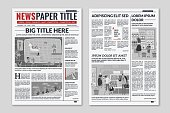 Newspaper layout. News column articles newsprint magazine design. Brochure newspaper sheets. Editorial journal vector press printwith abstract text and daily advertising construction template