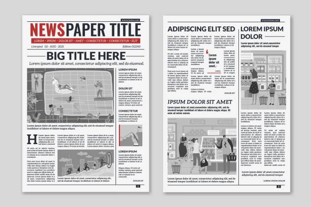 Newspaper layout. News column articles newsprint magazine design. Brochure newspaper sheets. Editorial journal vector template Newspaper layout. News column articles newsprint magazine design. Brochure newspaper sheets. Editorial journal vector press printwith abstract text and daily advertising construction template newspaper stock illustrations