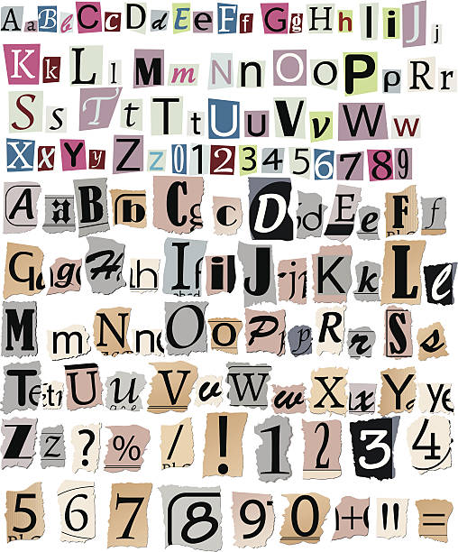 Newspaper letters and numbers Set of newspaper letters and numbers detective stock illustrations