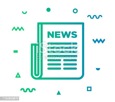 Newspaper outline style icon design with decorations and gradient color. Line vector icon illustration for modern infographics, mobile designs and web banners.