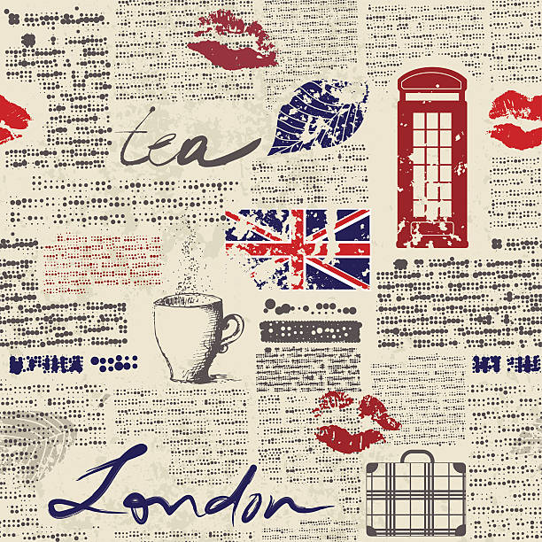 뉴스페이퍼 런던 - 잉글랜드 문화 stock illustrations