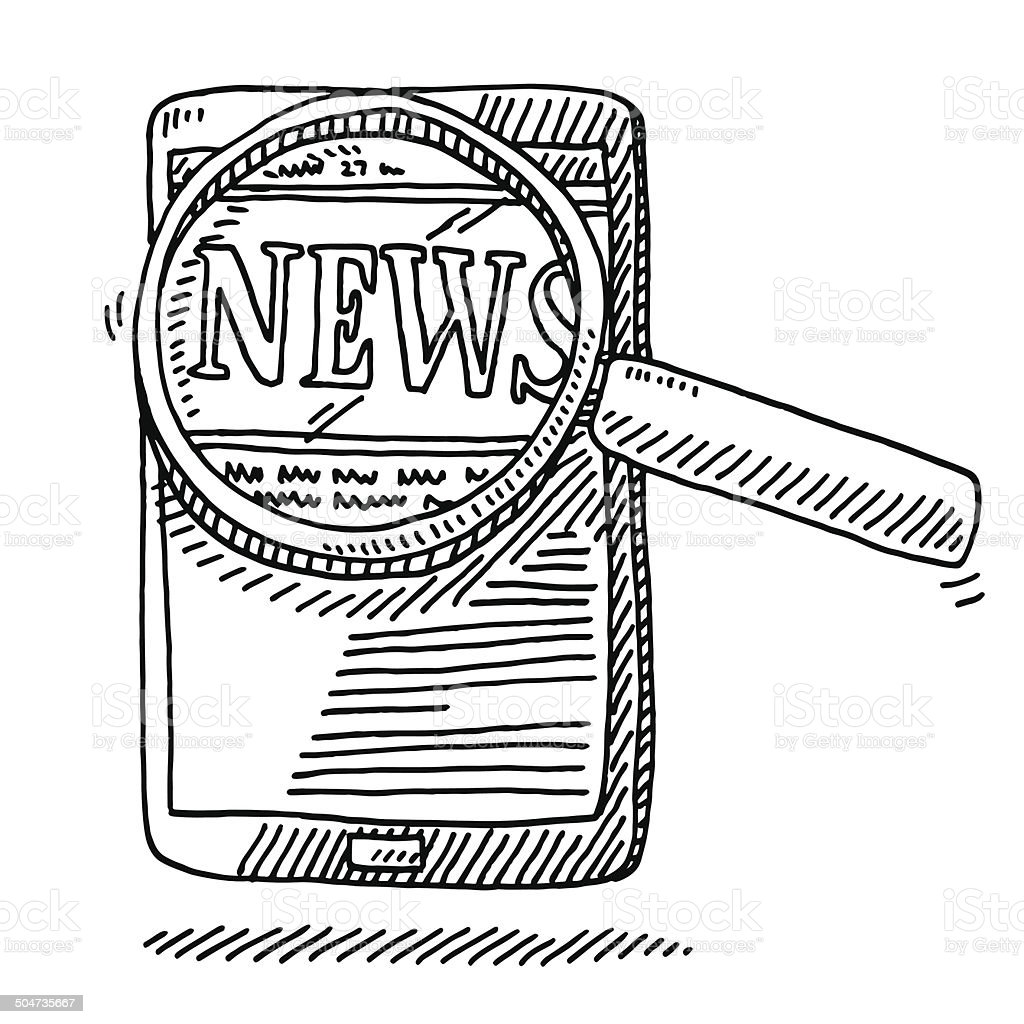 Line Drawing Newspaper : Téléphone intelligent dessin journal comptefil stock