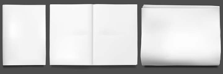 Newspaper mockup. Blank sheet of tabloid newsprint magazine. Paper realistic front page, open empty template