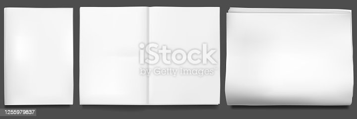 istock Newspaper mockup. Blank sheet of tabloid newsprint magazine. Paper realistic front page, open empty template 1255979837