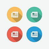 Newspaper Multi Colored Circle Flat Icon