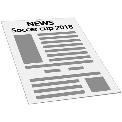 newspaper news cover page icon, mockup template first page news, isometry perspective Soccer cup 2018 international world championship tournament Russia
