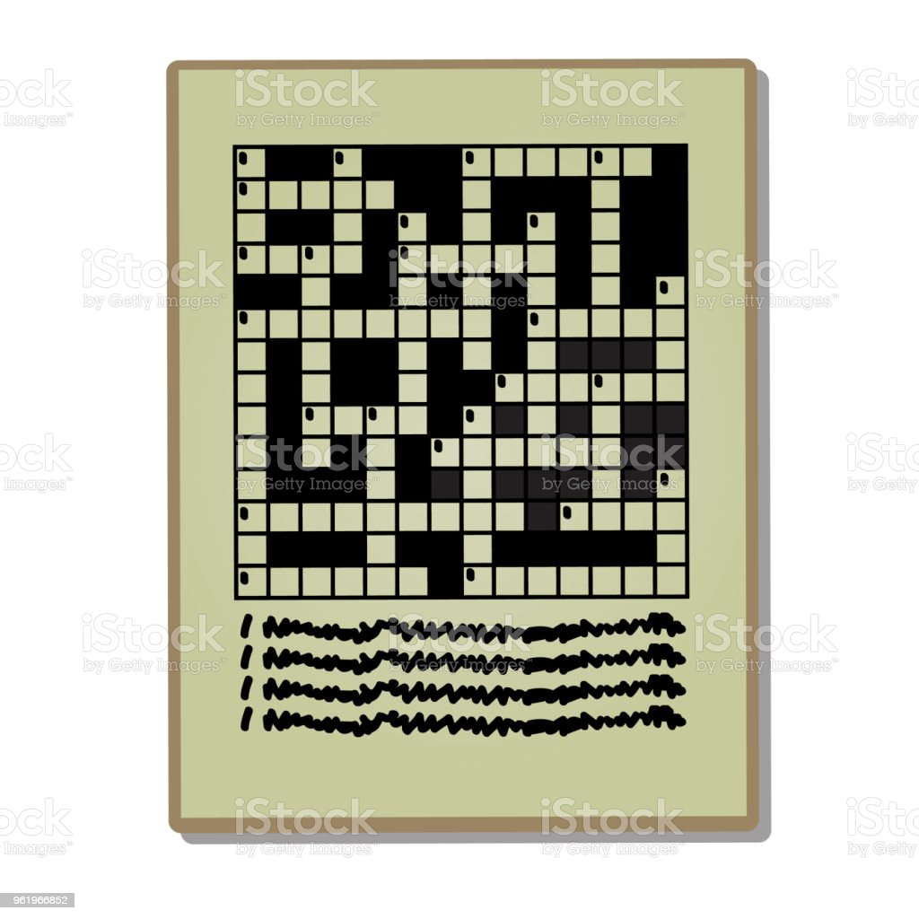 Newspaper Page With A Crossword Puzzle Isolated On A White