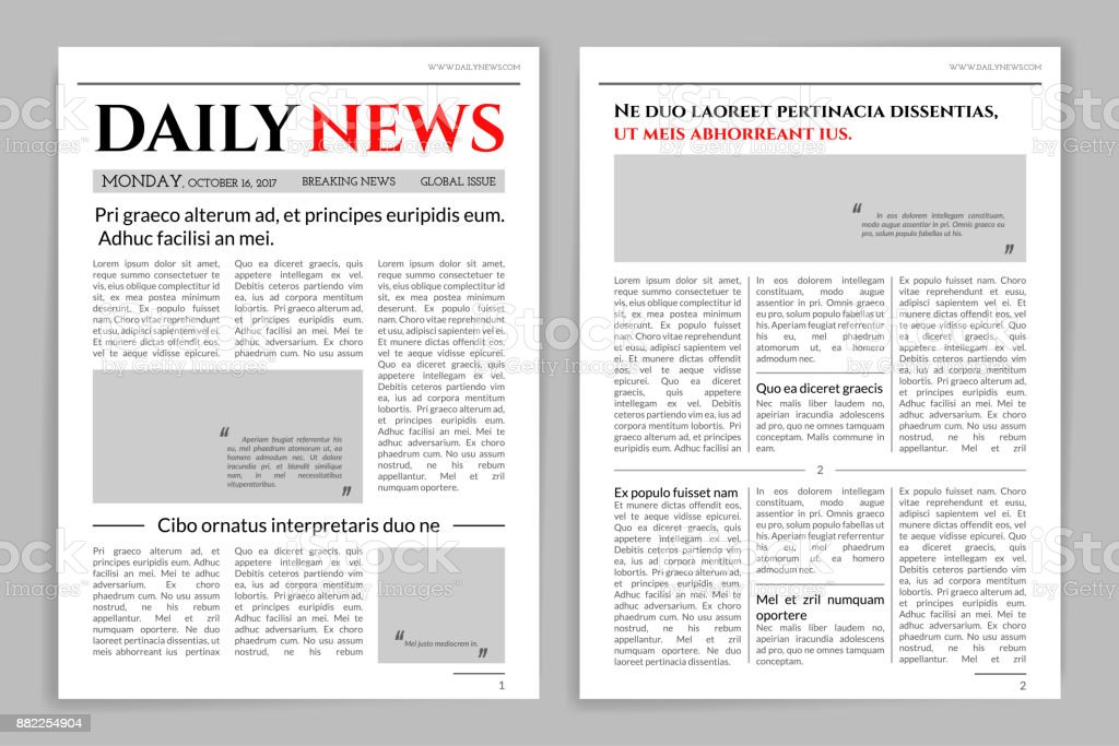 Newspaper Template Design Stock Vector Art More Images Of Aiming
