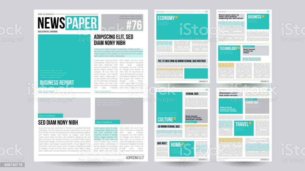 Newspaper Template Vector. Financial Articles, Business Information. Opening Editable Headlines Text Articles. Realistic Isolated Illustration vector art illustration