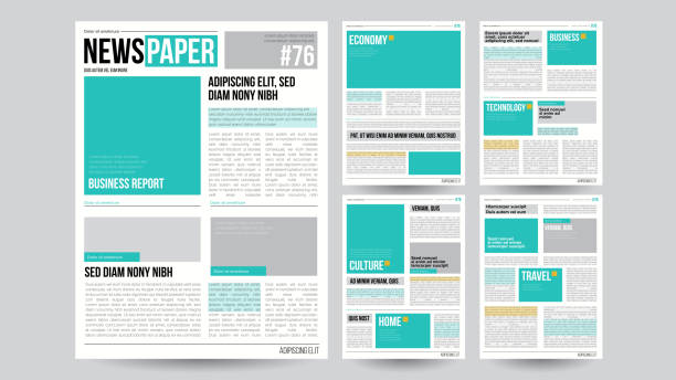 newspaper template vector. financial articles, business information. opening editable headlines text articles. realistic isolated illustration - newspaper stock illustrations
