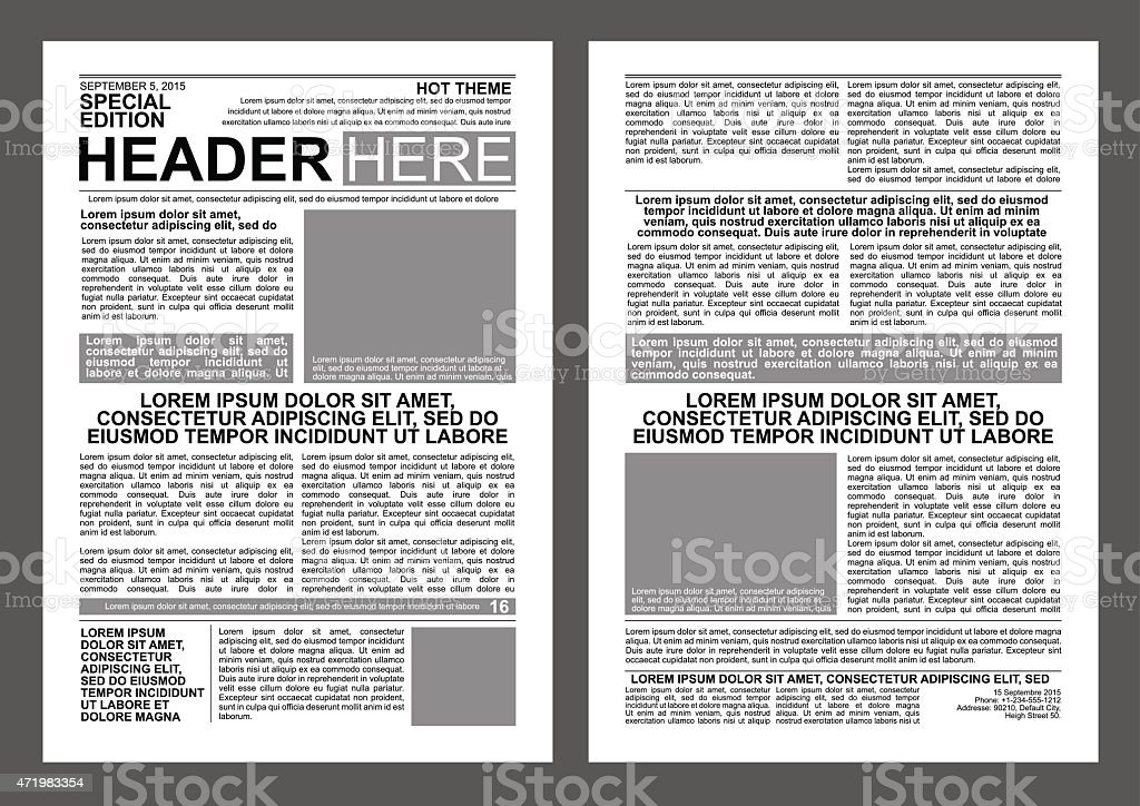 Newspaper Template Stock Vector Art  More Images Of