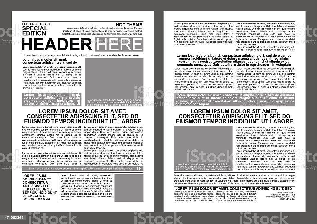 Newspaper Template vector art illustration