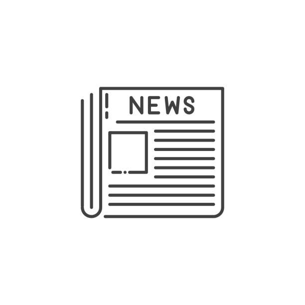 newspaper thin line vector icon. - newspaper stock illustrations