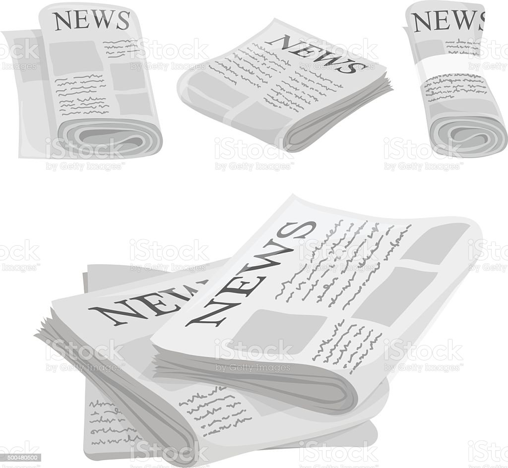 Newspaper vector icons with type and picture mockup vector art illustration