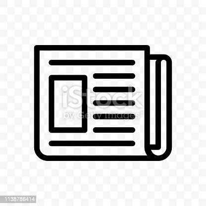 Newspaper vector line web newsletter or news app icon