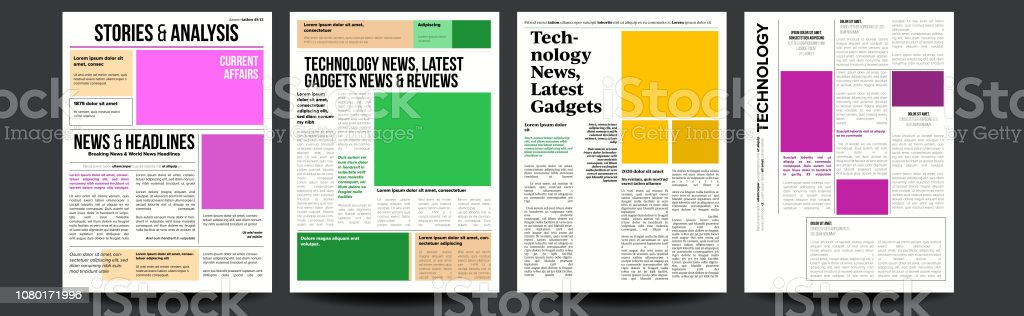 Newspaper Vector With Text And Images Daily Opening News