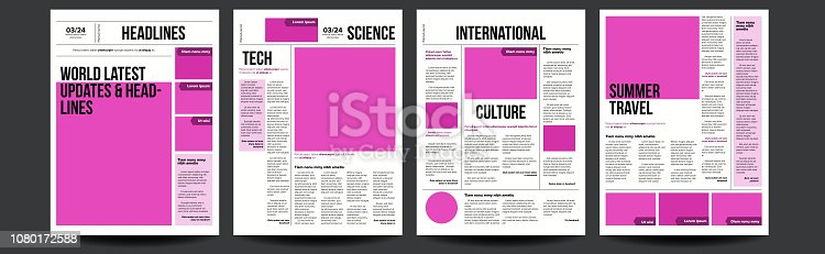 Newspaper Vector. With Text And Images. Daily Opening News Text Articles. Press Layout. Illustration