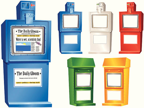 Newspaper vending stands Newspaper vending stands in five assorted colours. Two different designs. Large blue stand has a generic newspaper and advert for your use and an example. All small stands left blank for your own message. All illustrations are isolated on white. news stand stock illustrations