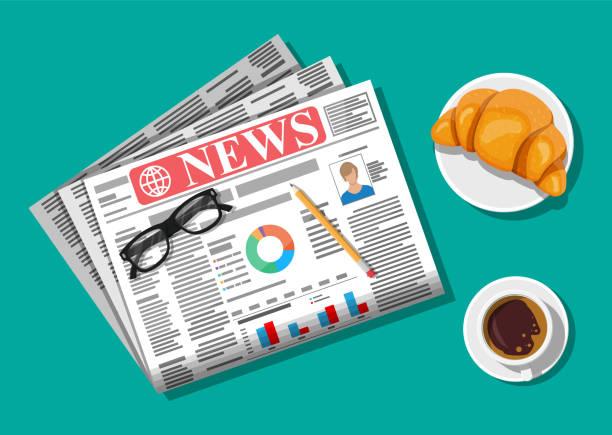 Zeitung mit Croissant, Tasse Kaffee, Bleistift. – Vektorgrafik