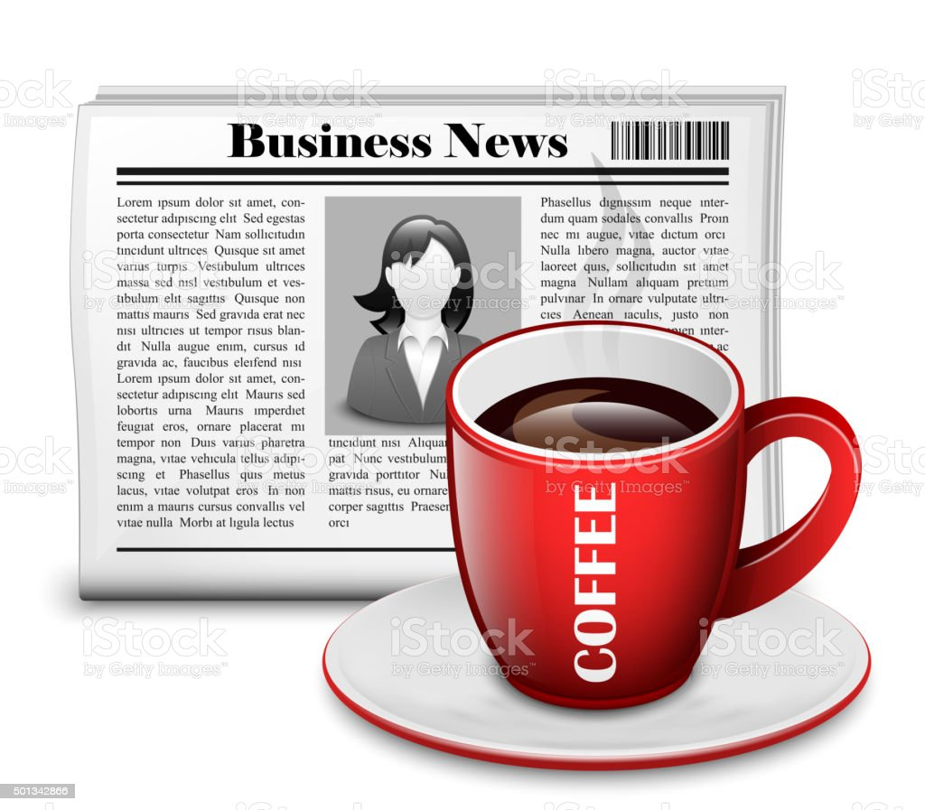 Newspaper with cup of coffee vector art illustration