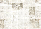 istock Newspaper with old grunge vintage unreadable paper texture background 1203007634