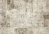 Newspaper with old unreadable text. Vintage grunge blurred paper news texture horizontal background. Textured page. Gray beige collage. Front top view.
