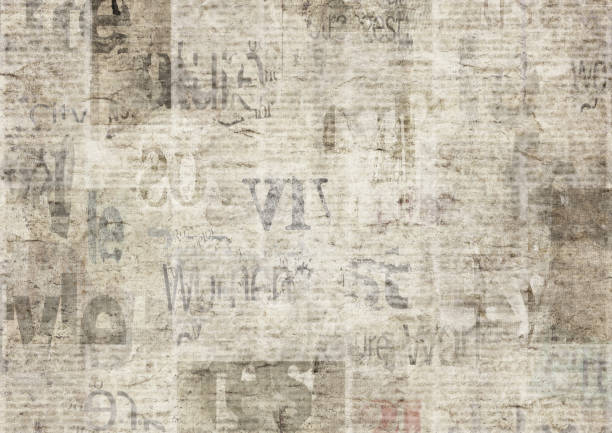 Newspaper with old grunge vintage unreadable paper texture background Newspaper with old unreadable text. Vintage grunge blurred paper news texture horizontal background. Textured page. Gray beige collage. Front top view. newspaper stock illustrations