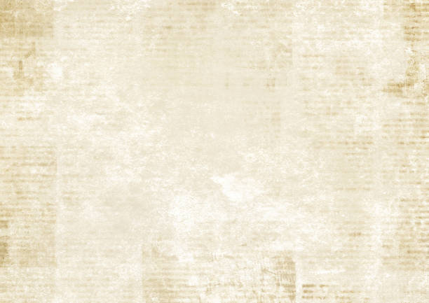 Newspaper with old grunge vintage unreadable paper texture background Newspaper with old unreadable text. Vintage grunge blurred paper news texture horizontal background. Textured page. Sepia collage. Front top view. newspaper stock illustrations