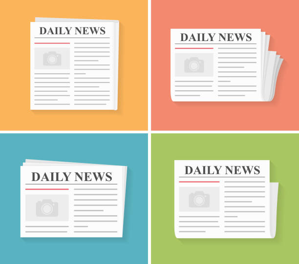 Newspapers Four newspapers, daily news, flat style, vector eps10 illustration newspaper stock illustrations