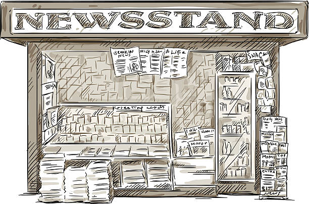 Newsstand. Hand drawn press kiosk. vector illustration. Newsstand. Hand drawn press kiosk. vector illustration EPS 10. news stand stock illustrations