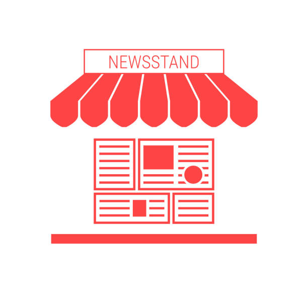 Newsstand, News Stall Single Flat Vector Icon. Striped Awning and Signboard Newsstand, News Stall Single Flat Vector Icon. Striped Awning and Signboard. A Series of Shop Icons. news stand stock illustrations