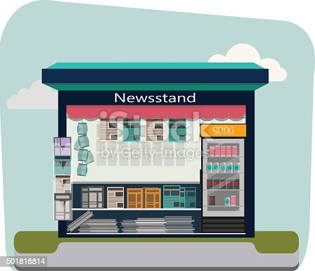Newsstand selling newspapers and magazines.Press kiosk.