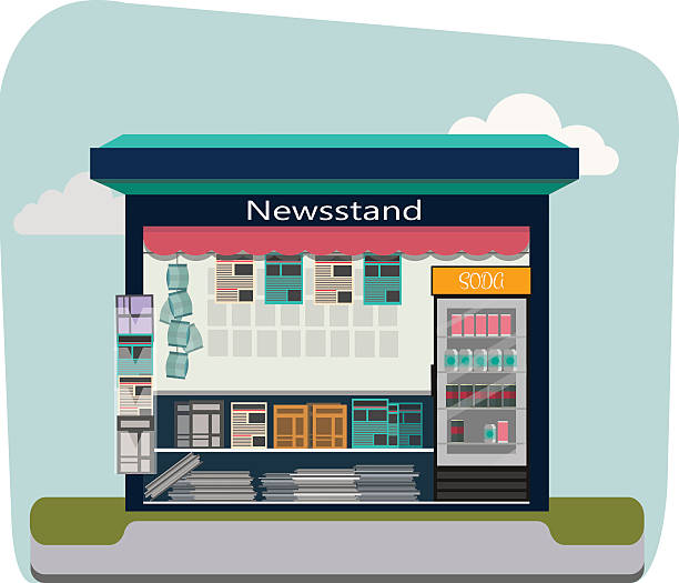 Newsstand selling newspapers and magazines.Press kiosk. Vector illustration. Newsstand selling newspapers and magazines.Press kiosk. news stand stock illustrations