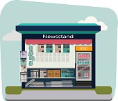 Newsstand selling newspapers and magazines.Press kiosk. Vector illustration.
