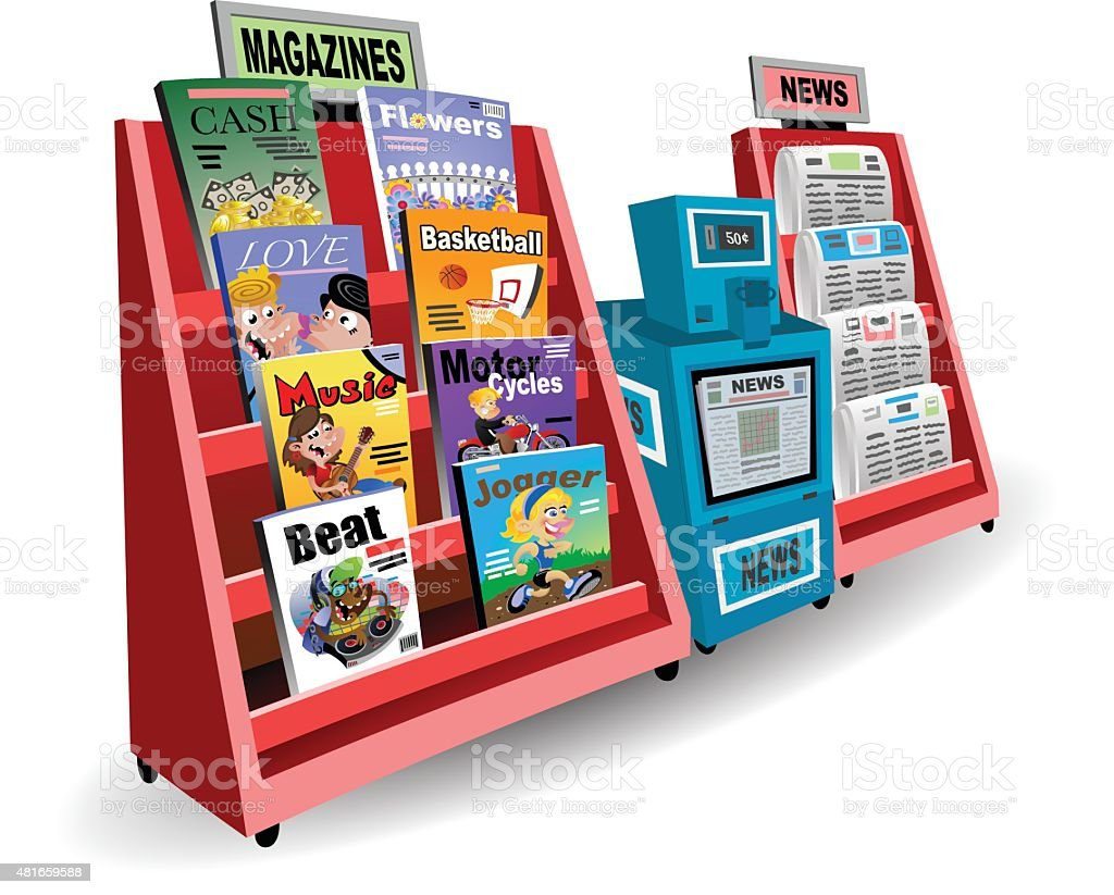 Newsstand vector art illustration