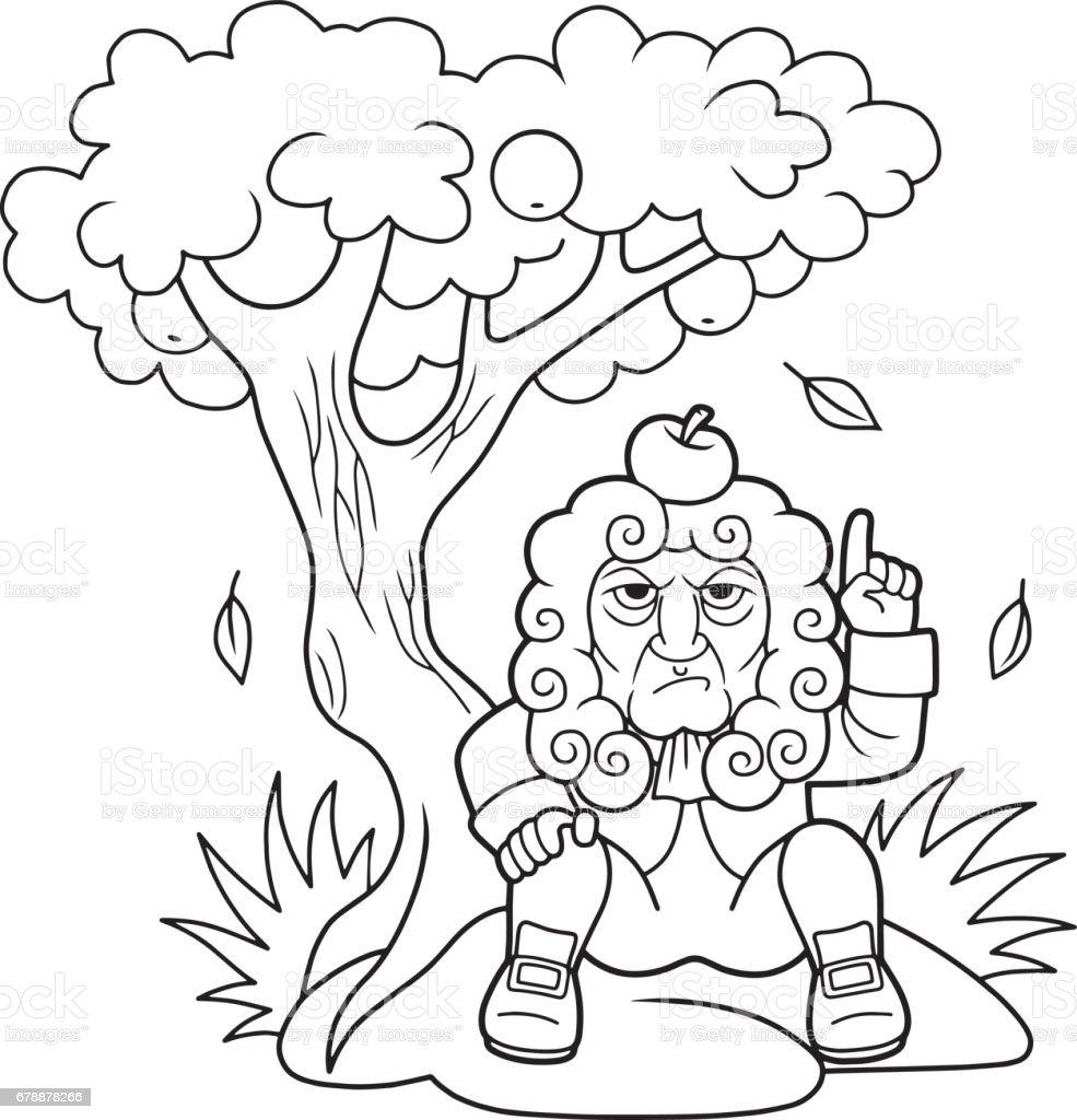 Newton elma ağacının altına oturur royalty-free newton elma ağacının altına oturur stok vektör sanatı & adamlar'nin daha fazla görseli