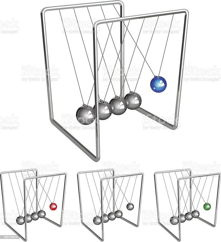 Newtons Cradle Business Metaphor vector art illustration