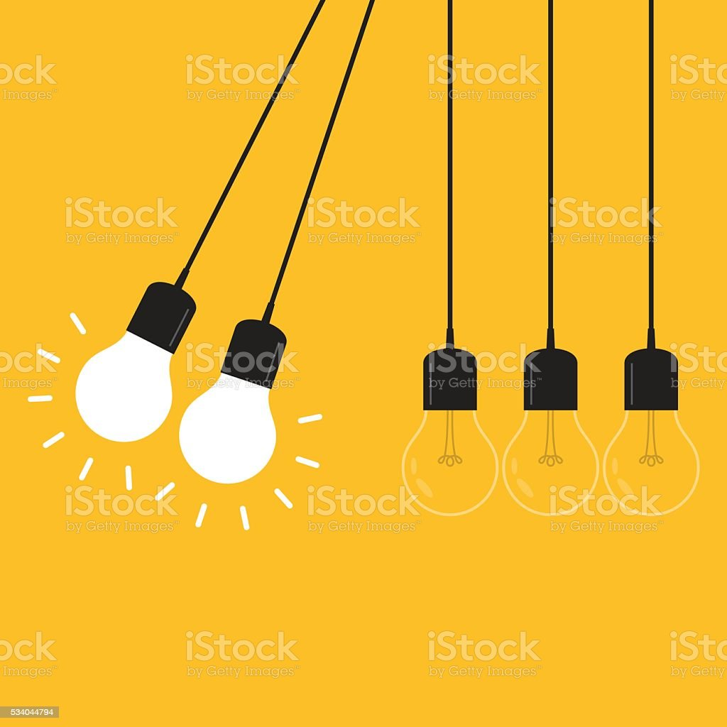 Newton's cradle concept on yellow background vector art illustration