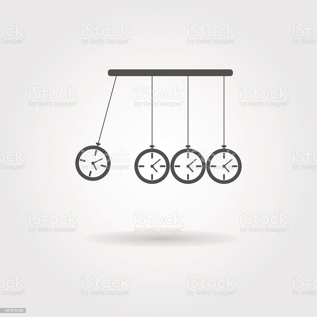 Newton's Cradle icon, concept of procrastination vector art illustration