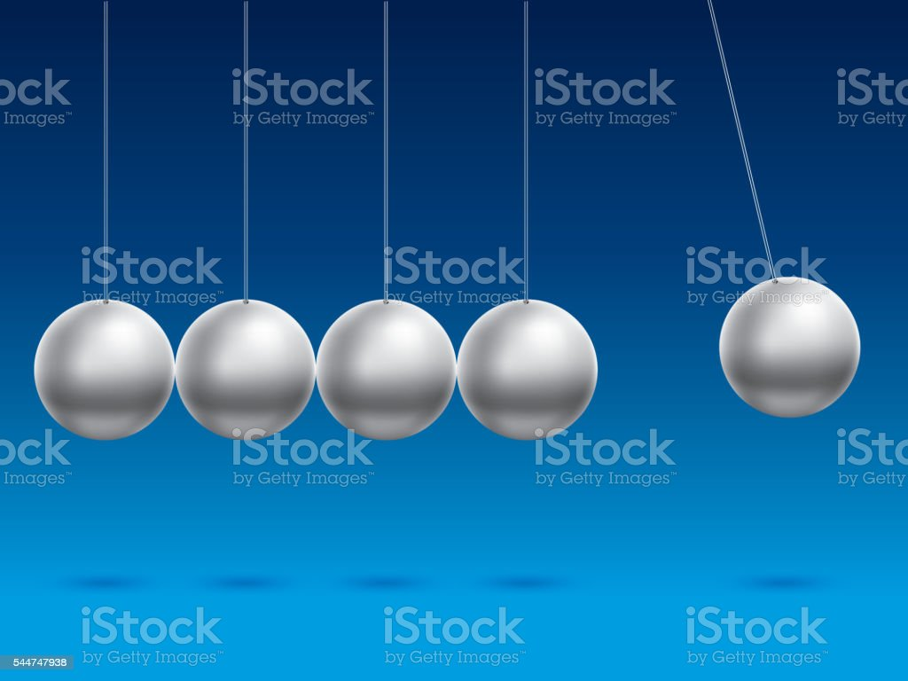 Newton's cradle in blue background vector art illustration