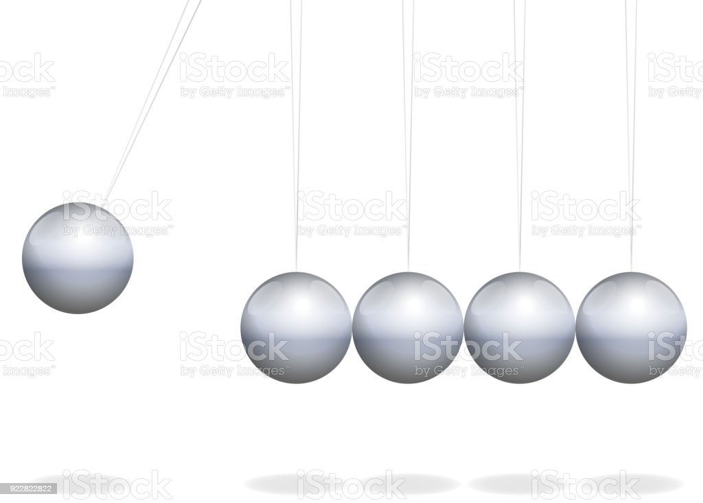 Newtons cradle. Physical toy with metal balls as pendulum - isolated vector illustration on white background. vector art illustration