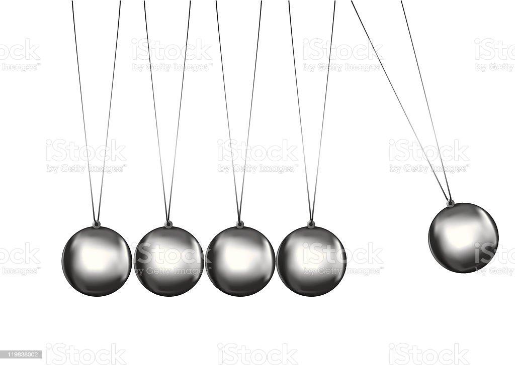 newtons cradle silver balls vector art illustration