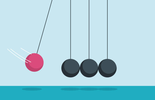 Newton's Cradle illustration and painting impact stock illustrations