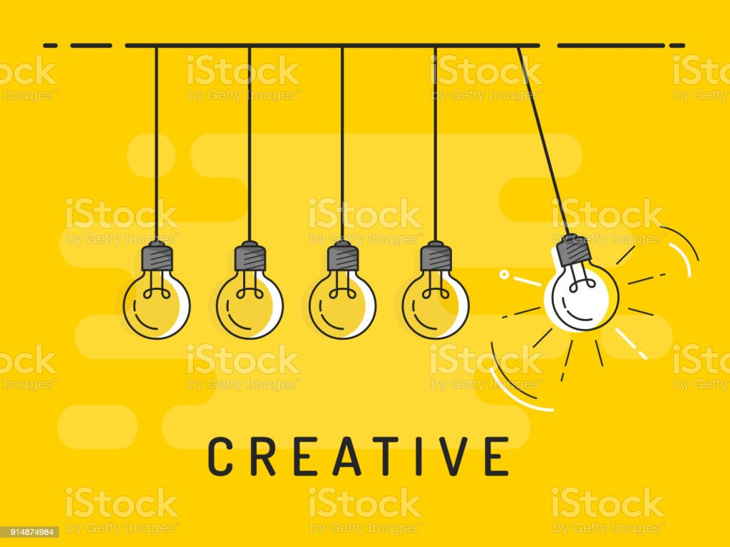 Newton's cradle with glowing light bulb. Trendy flat vector light bulb icons with concept of creative idea on yellow background. vector art illustration