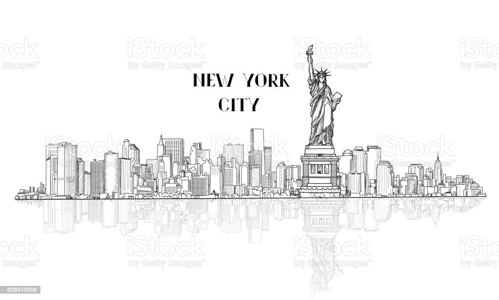 New-York, USA skyline sketch city silhouette with Liberty monument. vector art illustration