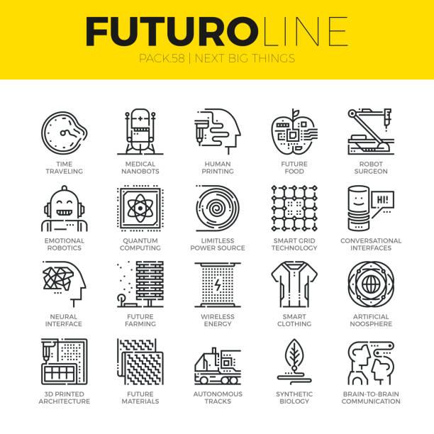 nächste große dinge futuro linie symbole - elegante kleidung stock-grafiken, -clipart, -cartoons und -symbole