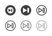 Next Button Icons Multi Series Vector EPS File.