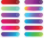 Set of colorful next button templates with arrow isolated on white background. Vector illustration.